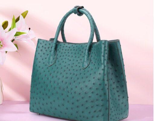 ostrich leather handbag
